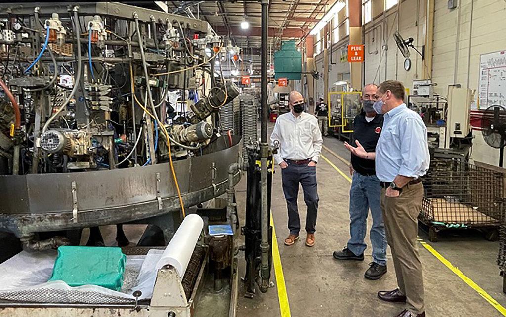 US Representative Richard Hudson tours Edelbrock factory in Sanford, NC